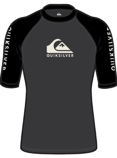 QUIKSILVER MENS RASH VEST.ON TOUR BACKPRINT UPF50+ BLACK TOP T SHIRT 8W 10 KTA0